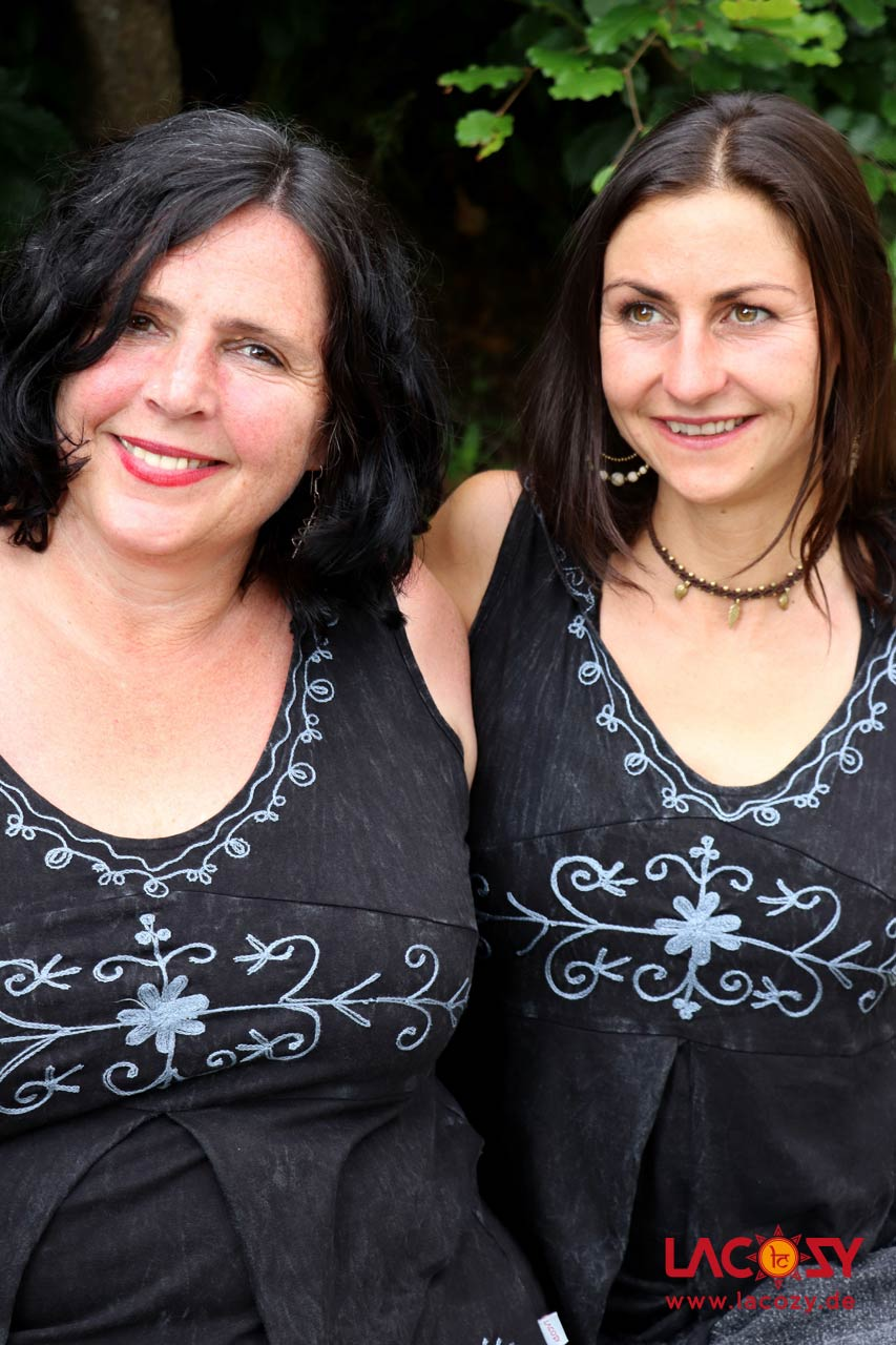 Elfen  Oberteil mit Zipfelkapuze Damen Schwarz