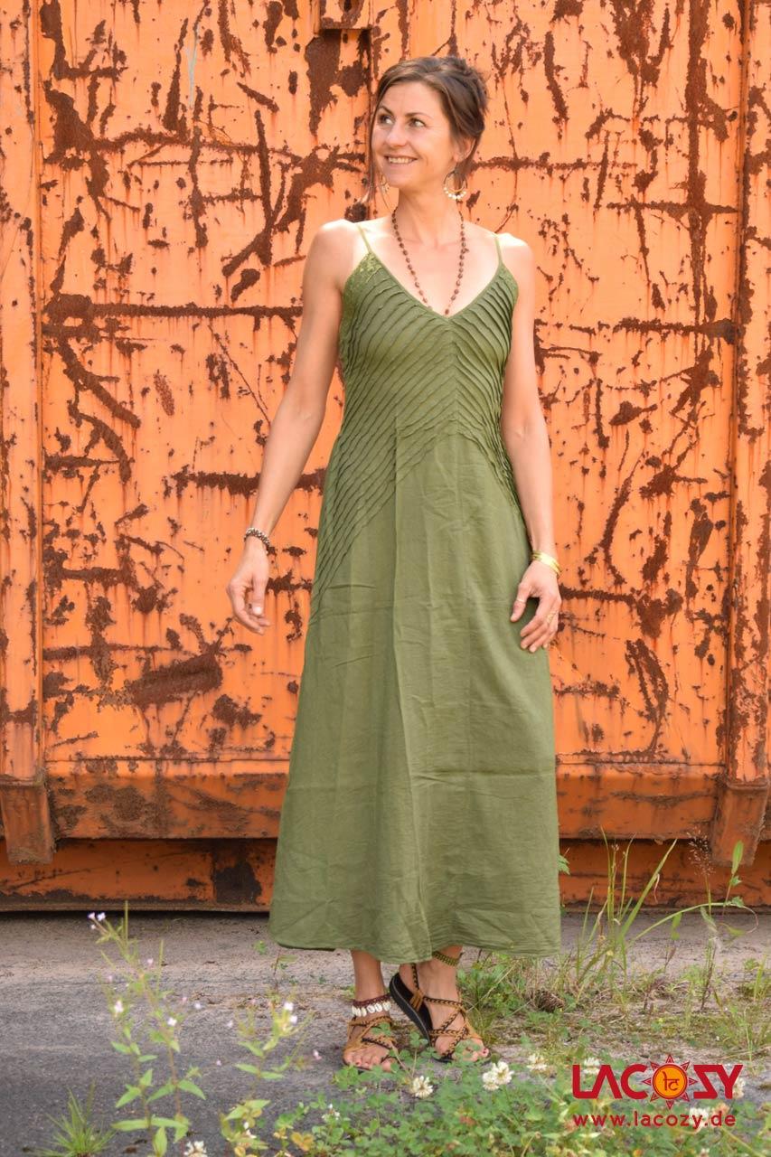 Langes Kleid Prana Sommerkleid Damen Khaki Lacozy Onlineshop