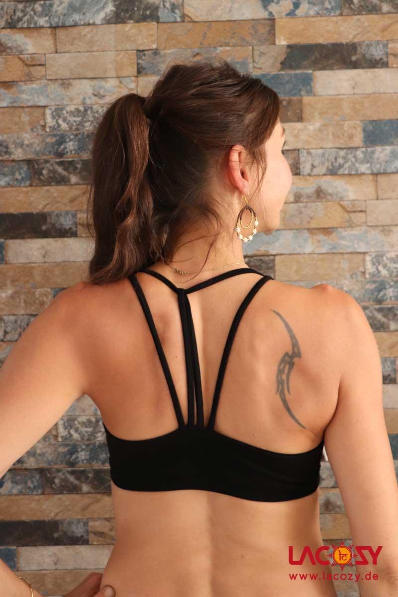 Yoga Top DIAMONDS Bustier Oberteil Damen Schwarz