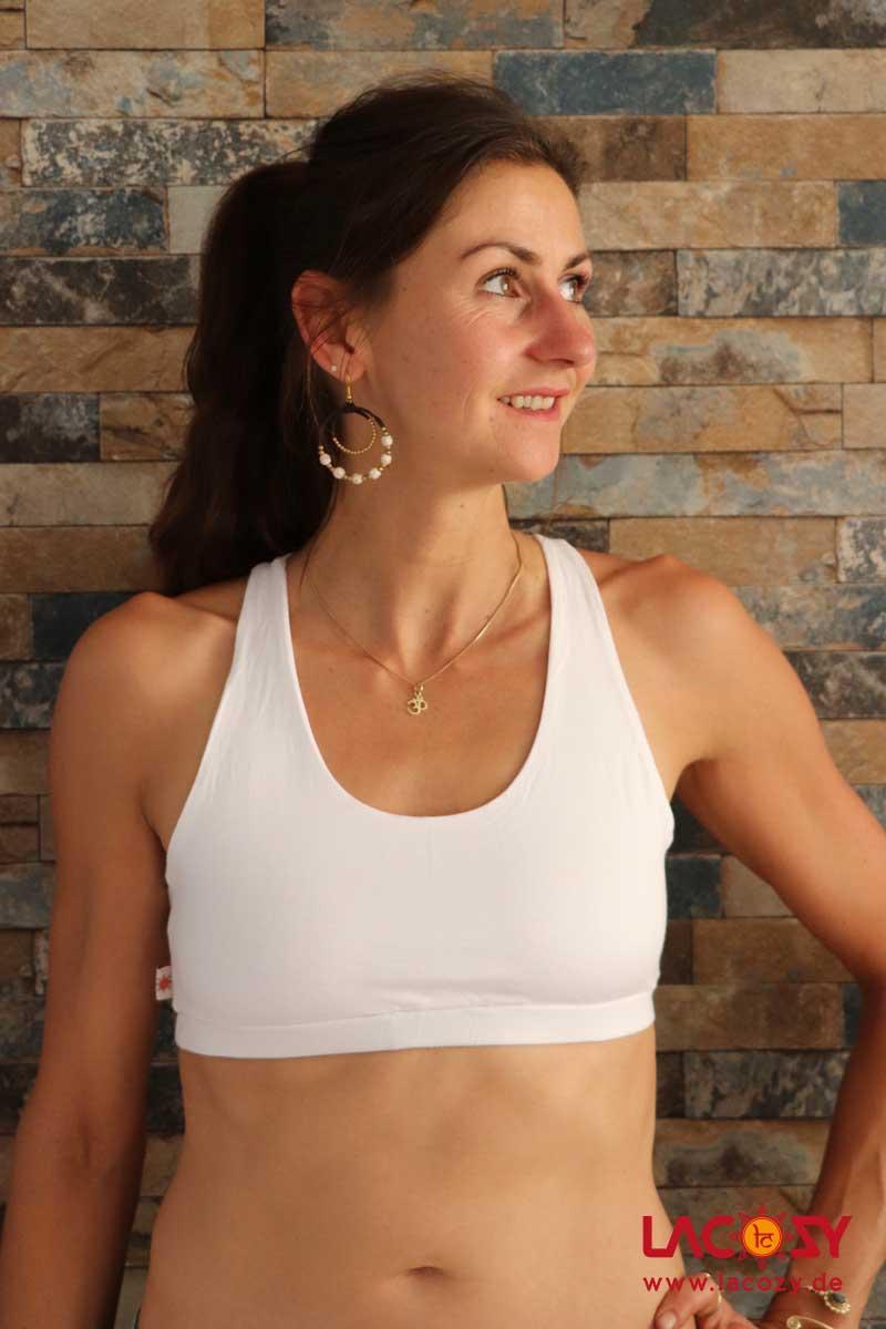 Yoga Top DIAMONDS Bustier Oberteil Damen Weiß