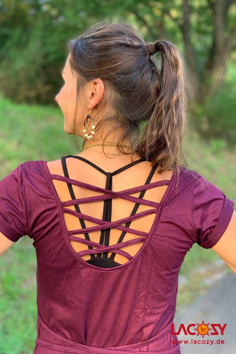 Langes T-Shirt LEYLA mit offenem Rücken Damen Pflaume