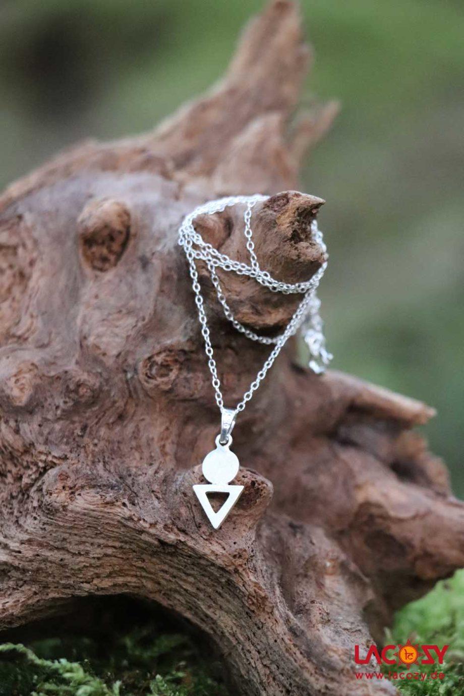 Set GEO aus Silber Ohrringen und Kette  Silber