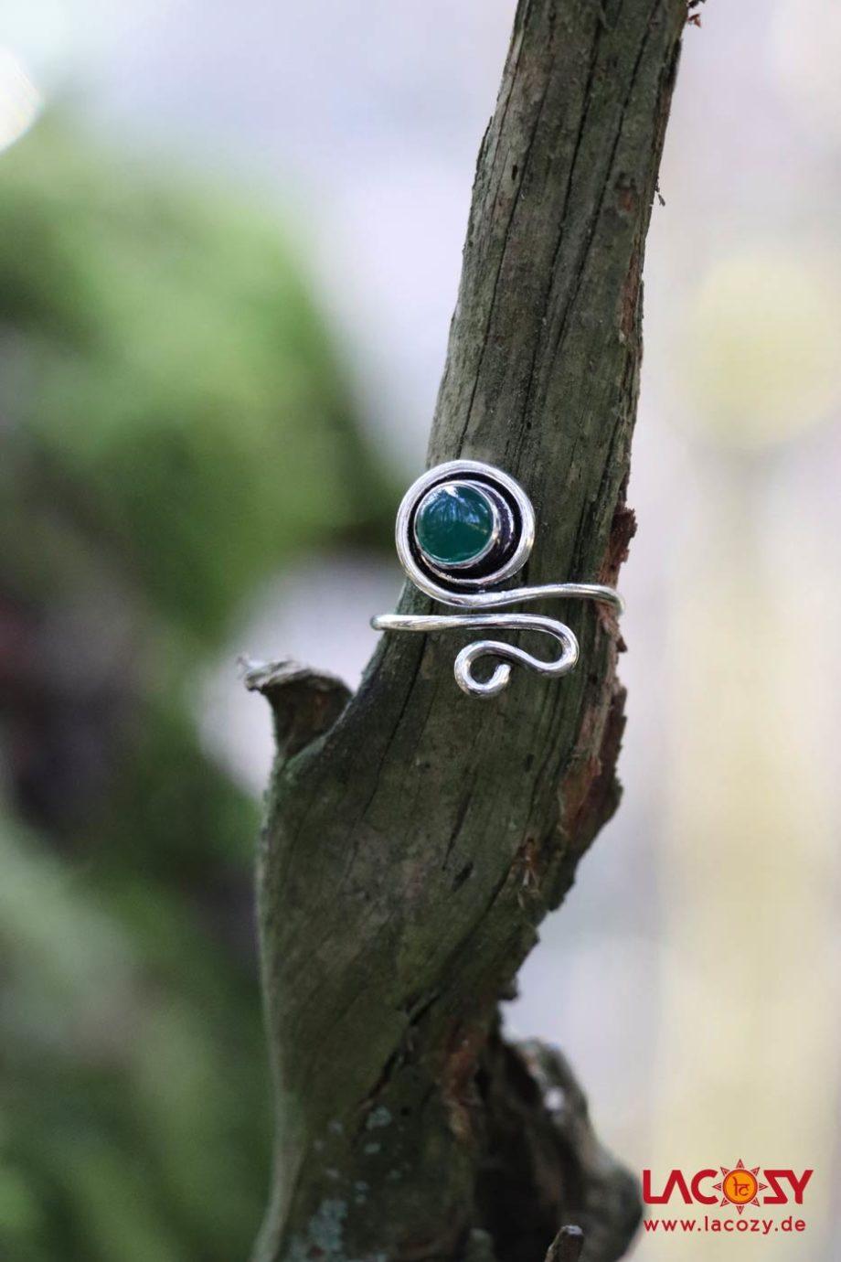 Ring LIFE mit grünem Onyx  Silber | grüner Onyx