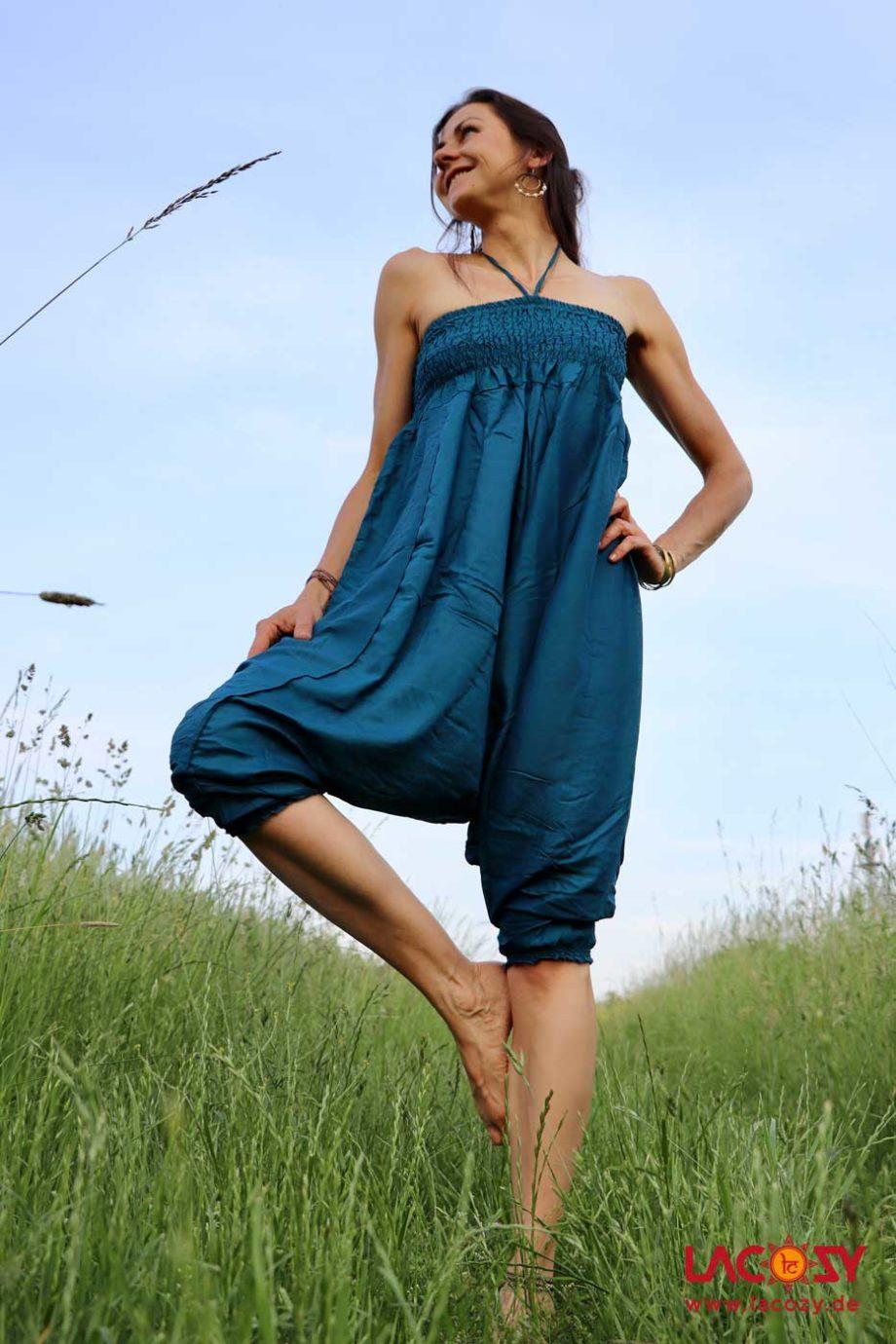 Haremshose Hosenkleid UNI Damen Petrol